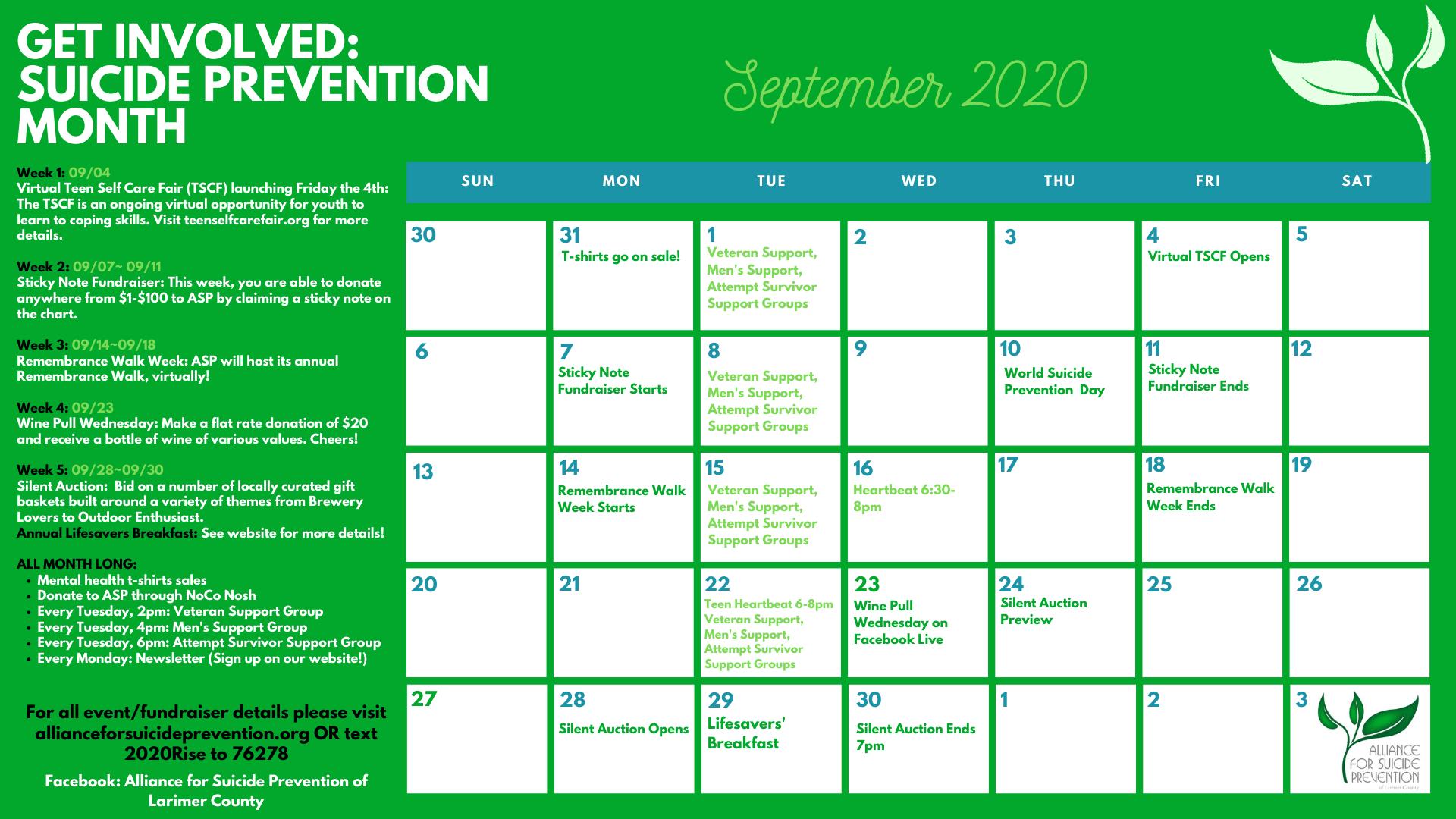 Suicide Prevention Month Calendar