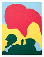 A brightly colored abstract painting that's 24 inches wide and 36 inches tall, with large green, red, and yellow shapes stacked atop one another, against a sky blue background.