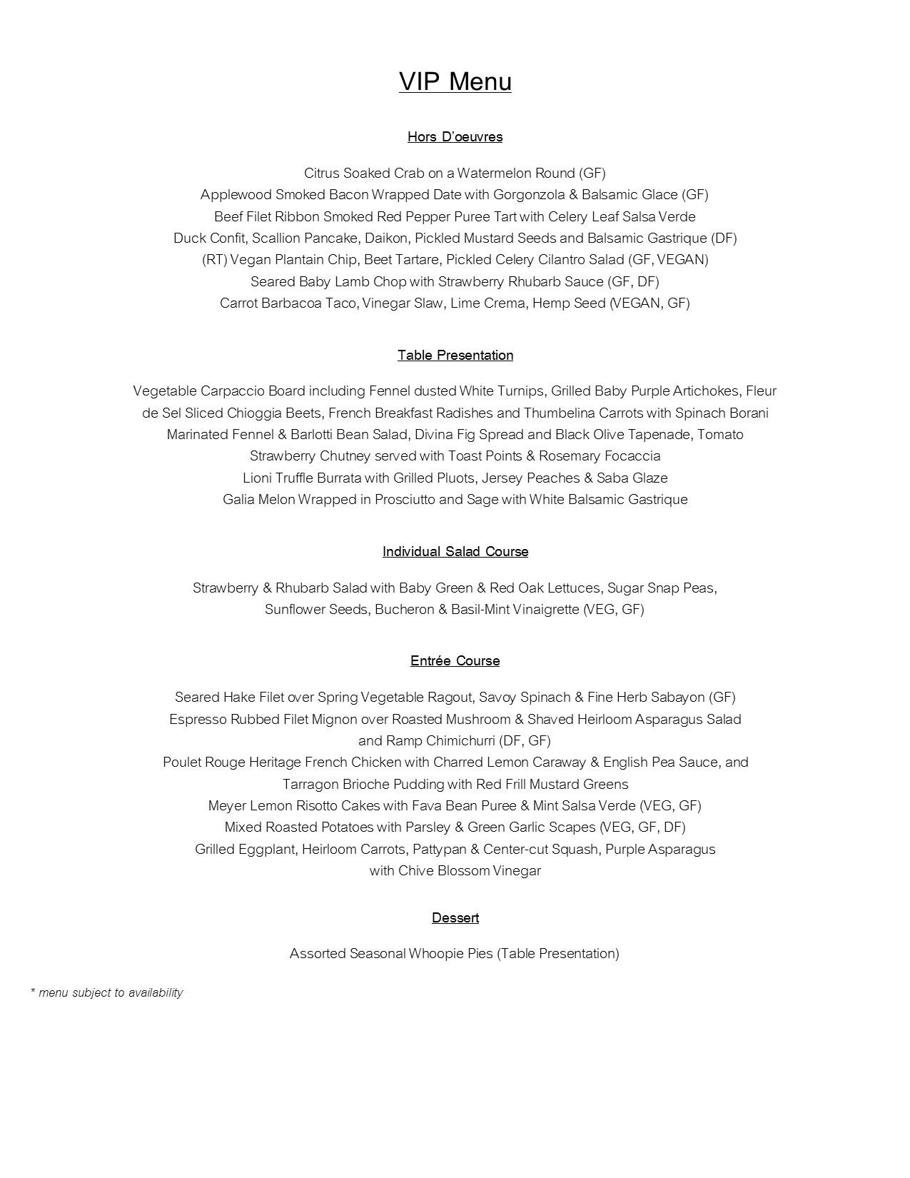 VIP Dinner Menu