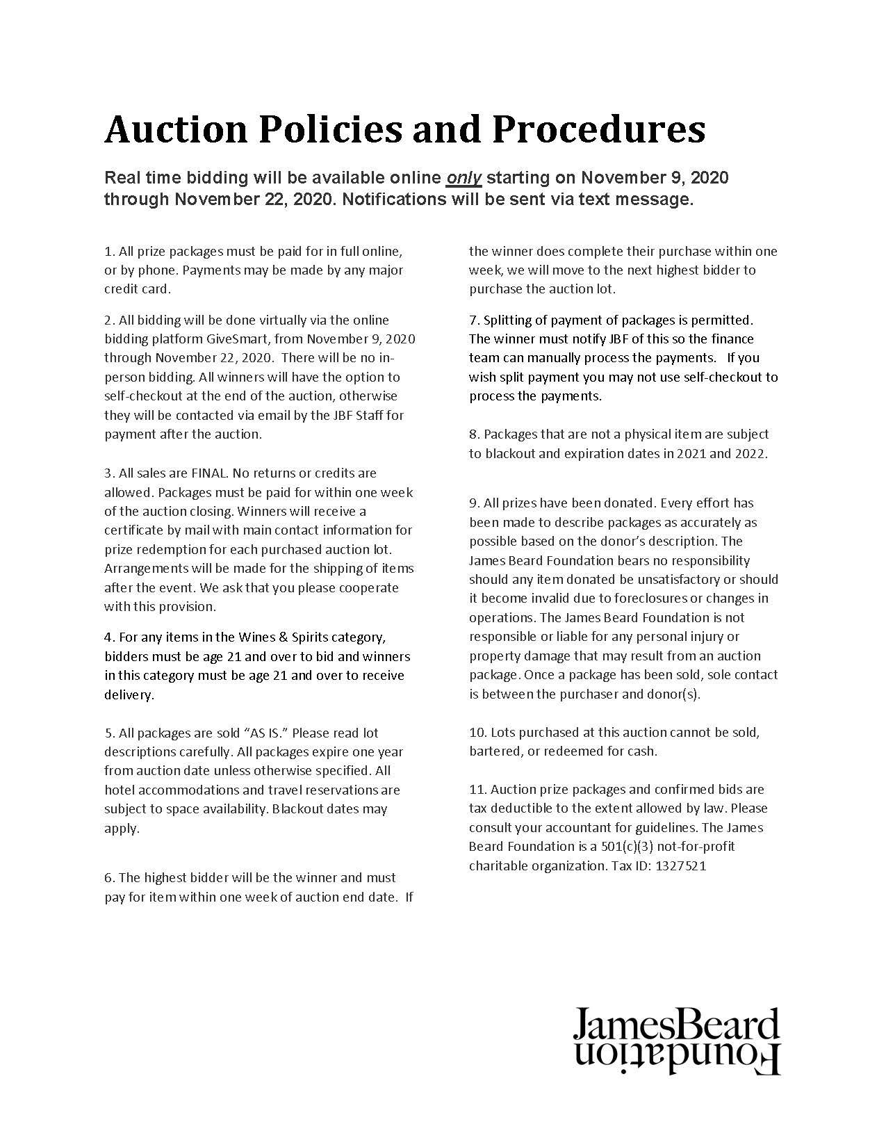 Auction Policies & Procedures