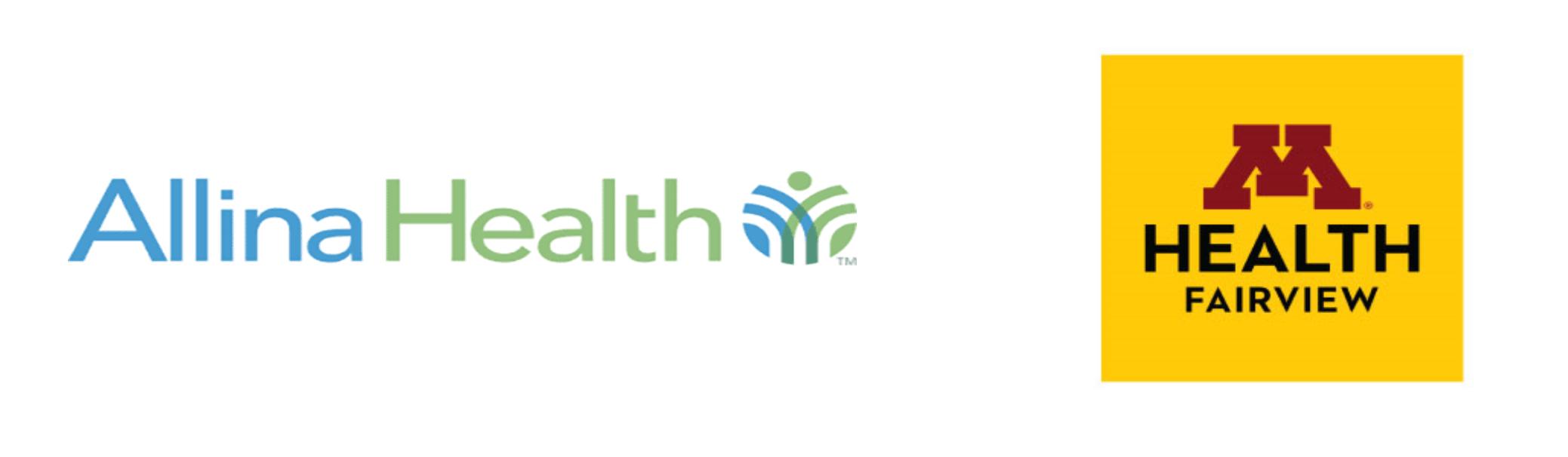Allina Health + M Health Fairview logos