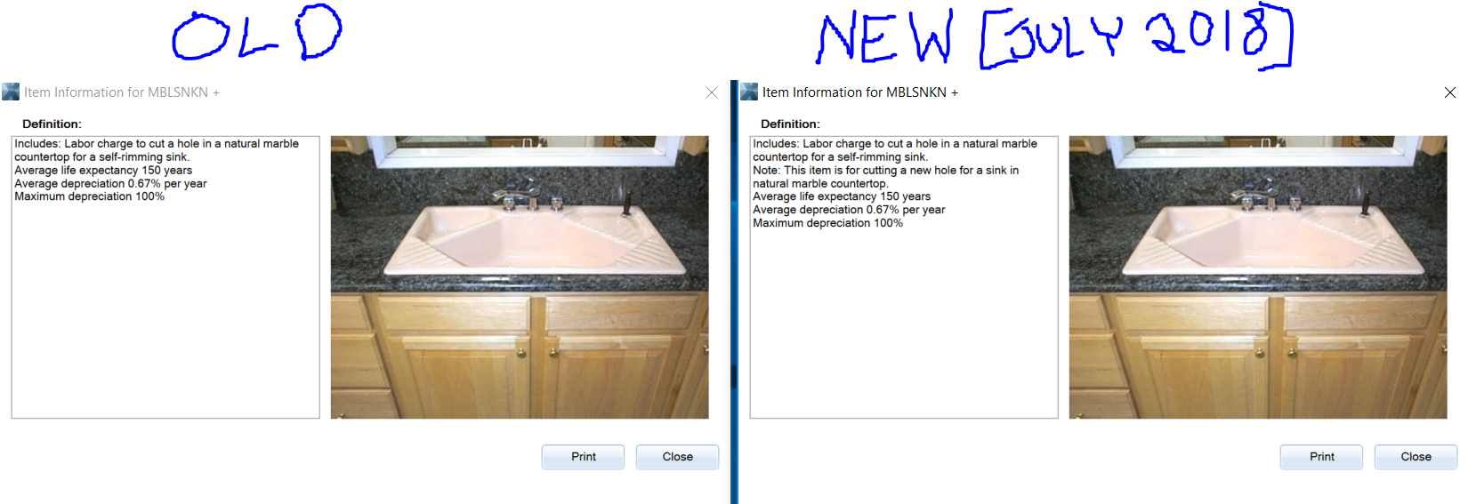 New Vs Old Countertop Line Item Info
