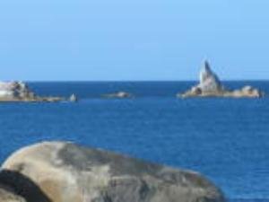 Sloop Rock as seen from the cottages