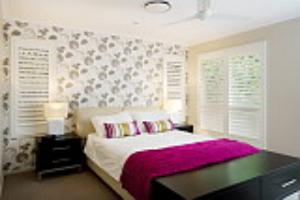 Brisbane master bedroom with wallpaper