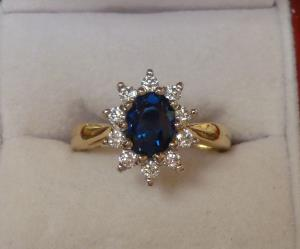 Australian Blue Sapphire and diamond cluster ring