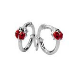 Sterling Silver Ladybeetle Hoop Earrings
