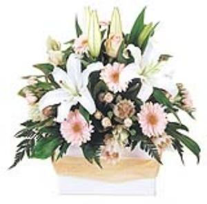 Box Arrangement of lillies, roses and gerberas