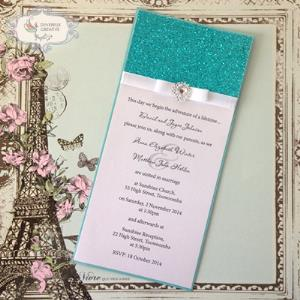 Mat wedding invitation with glitter
