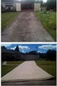 before and after - driveways cleaned