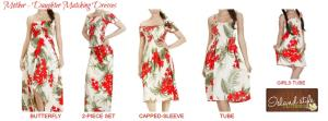 Ladies Hawaiian Dresses Cream and Red Floral