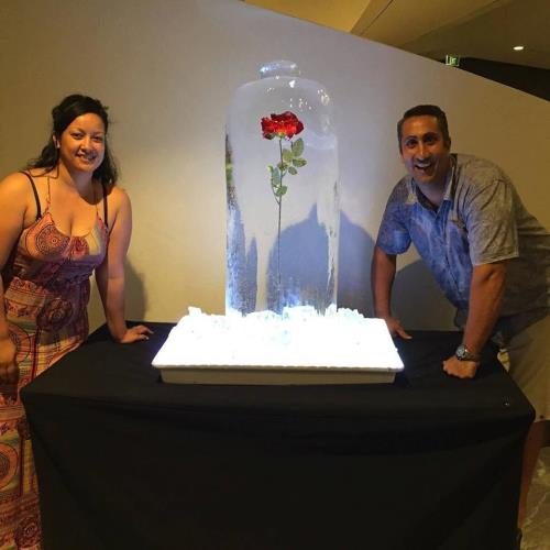 Ice sculpture with objects frozen inside