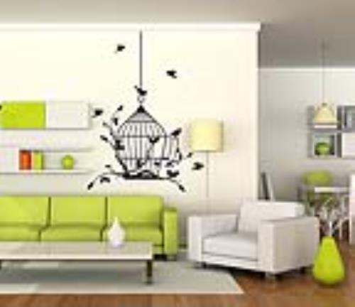 Wall Image Decal Hanging Birdcage