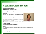 View More Information on Cook and Clean for You