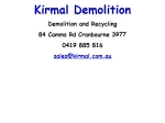 View More Information on Kirmal Demolition