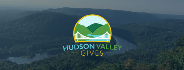 Hudson Valley Gives logo with scenic view of New York's Hudson Valley.
