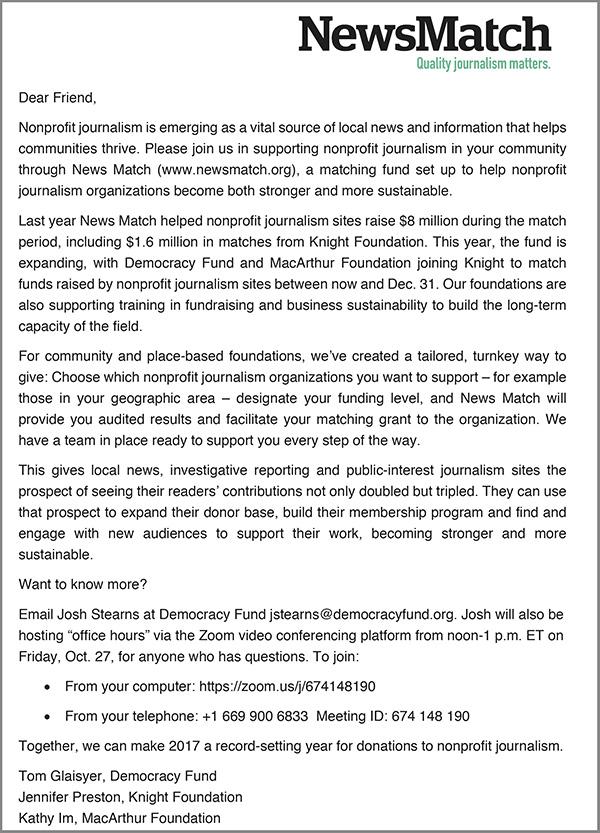 News Match Letter