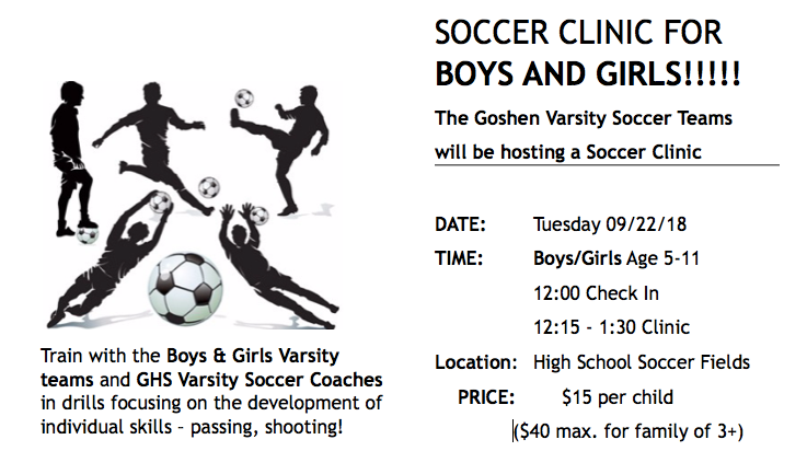 The Goshen Soccer Club: Fall 2018 Clinic Fundraiser | GiveGab