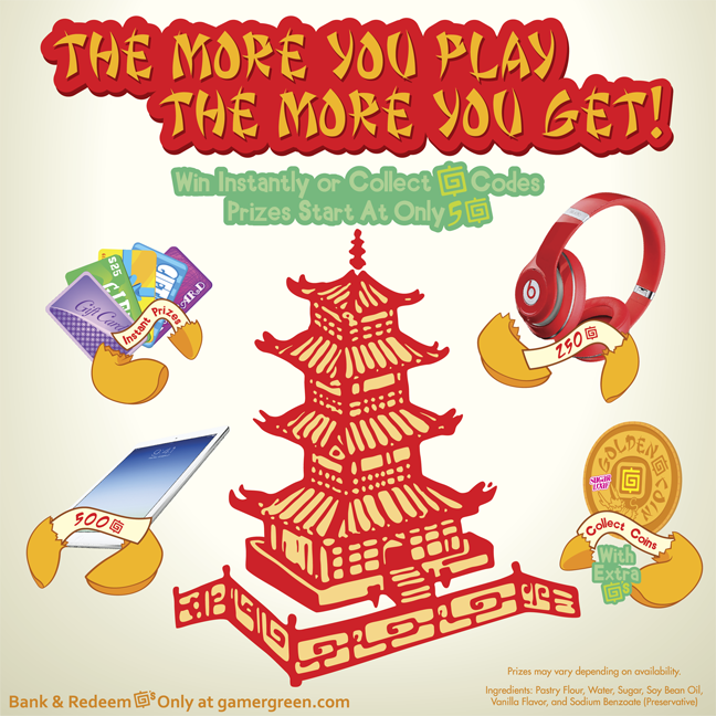 Prize Pagoda, GamerGreen, Gamer, Gaming, Play, Prize Redemption
