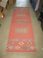 Vtg Red Woven Wool Southwest Native American Indian Runner Rug Carpet 99