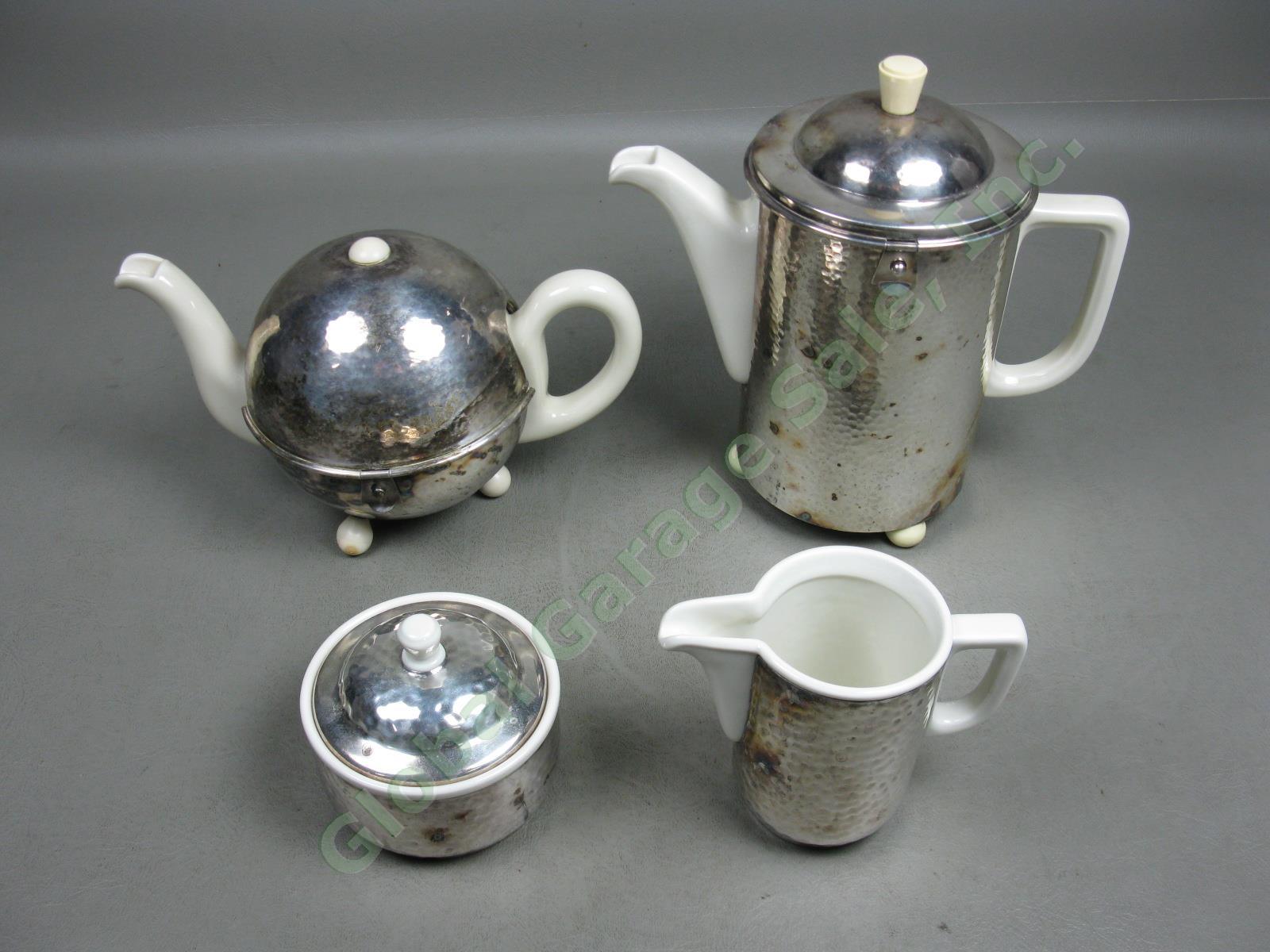 vtg wmf bauscher weiden hammered silverplate ceramic coffee tea set pot creamer ebay. Black Bedroom Furniture Sets. Home Design Ideas