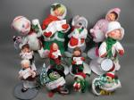 Huge Lot 12 Vtg 1990s Annalee Mobilitee Dolls Xmas Carolers Mouse ++ Meredith NH