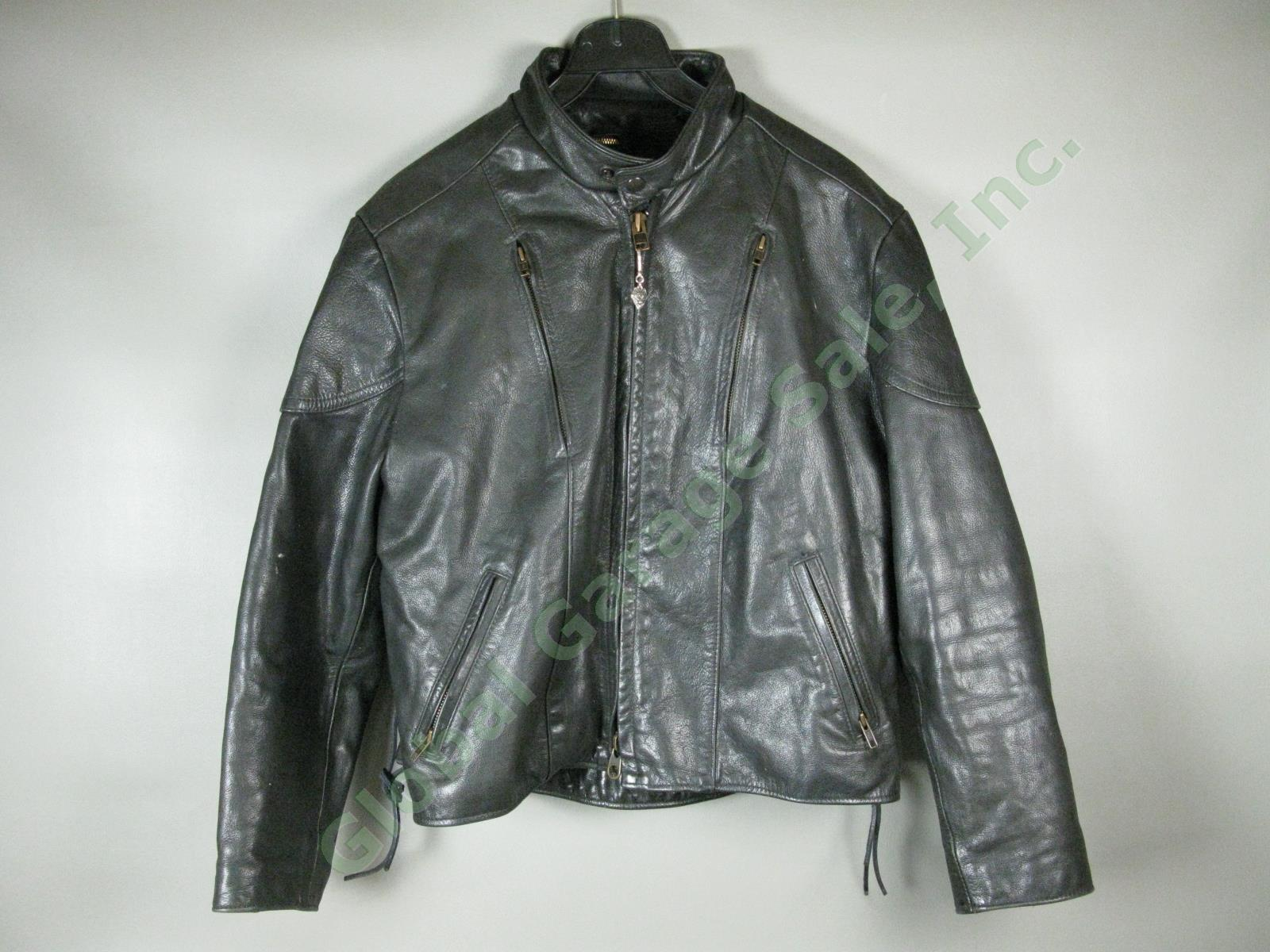 Womens-Natel-Black-Leather-Motorcycle-Jacket-Zip-Out-Quilted-Liner-Sz-18-NO-RES