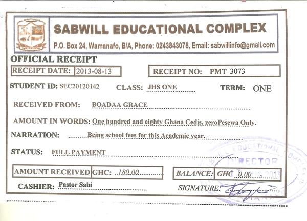 2013 2014 school receipt grace