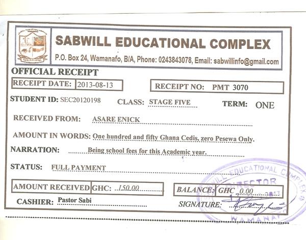 2013 2014 school receipt enick