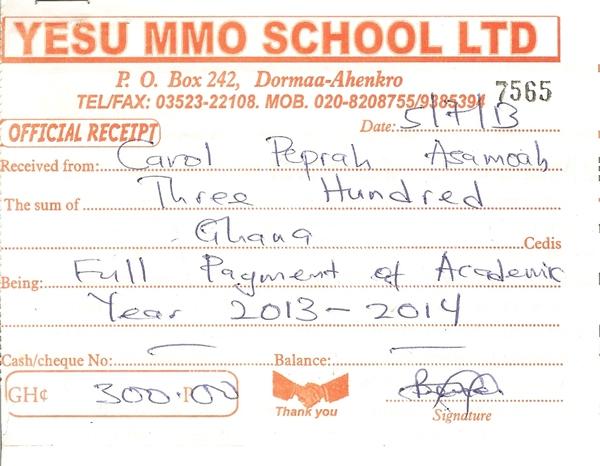 2013 2014 school receipt carol