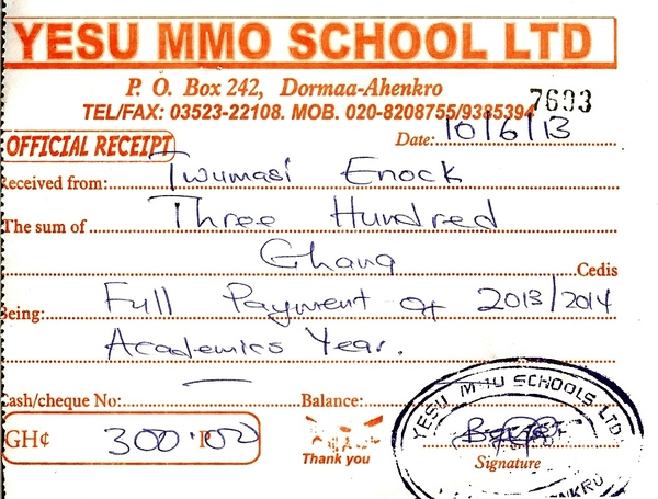 2013 2014 school receipt enock