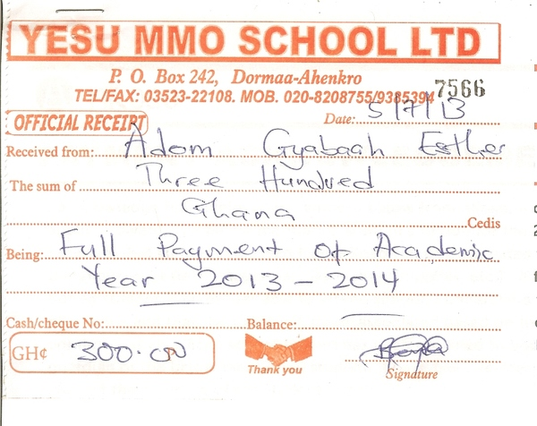 2013 2014 school receipt esther