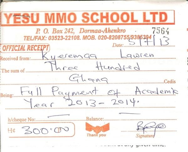 2013 2014 school receipt lawren