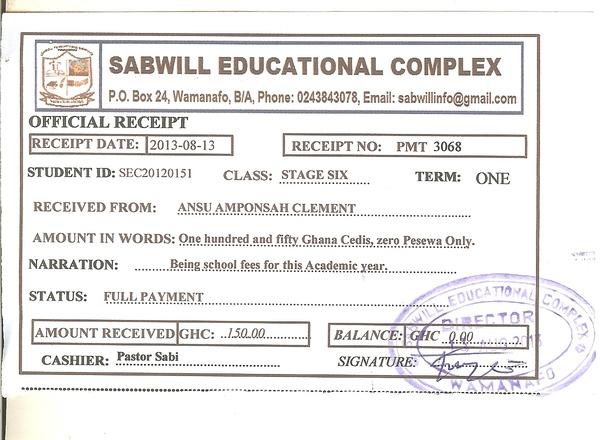 2013 2014 school receipt clement