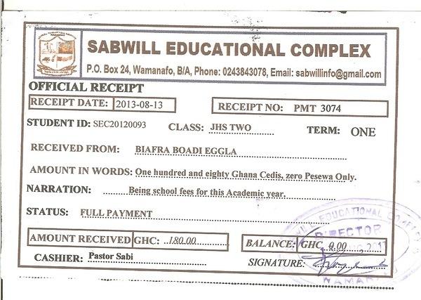 2013 2014 school receipt eggla