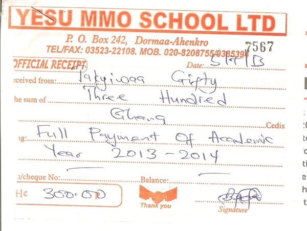 2013 2014 school receipt gifty takyiwaa
