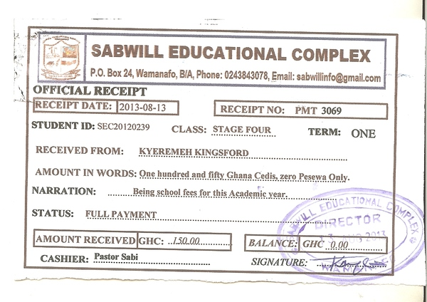 2013 2014 school receipt kingsford