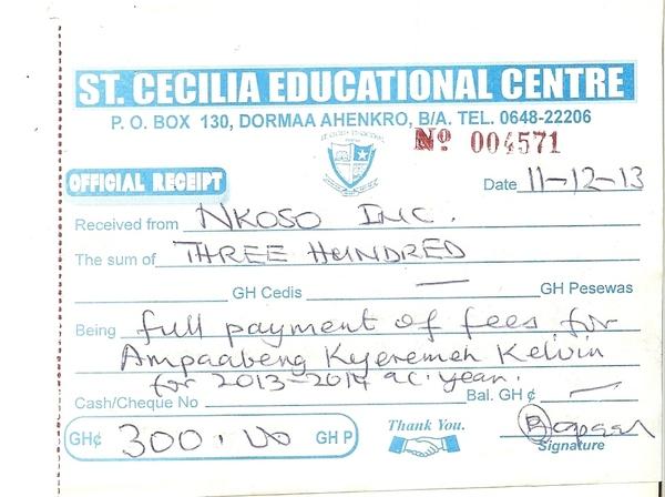 2013 2014 school receipt kelvin ampaabeng