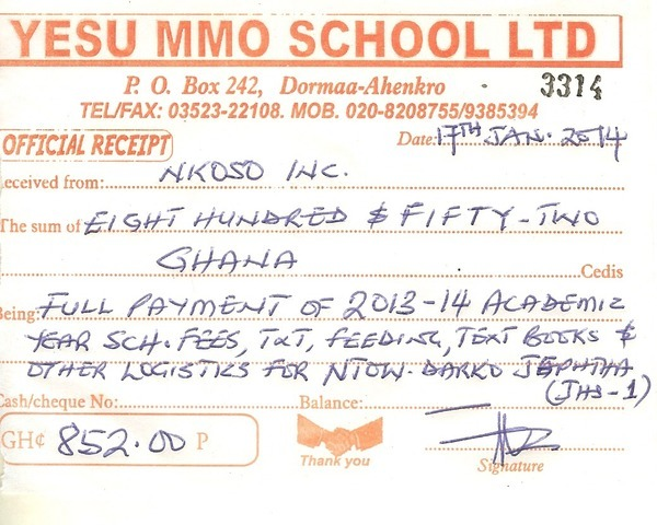 2013 2014 school receipt jephtha