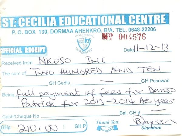 2013 2014 school receipt patrick