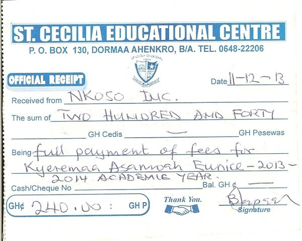 2013 2014 school receipt eunice