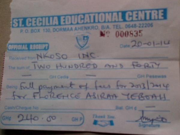 2013 2014 school receipt florence