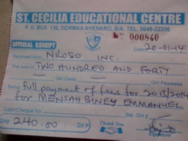 2013 2014 school receipt emmanuel