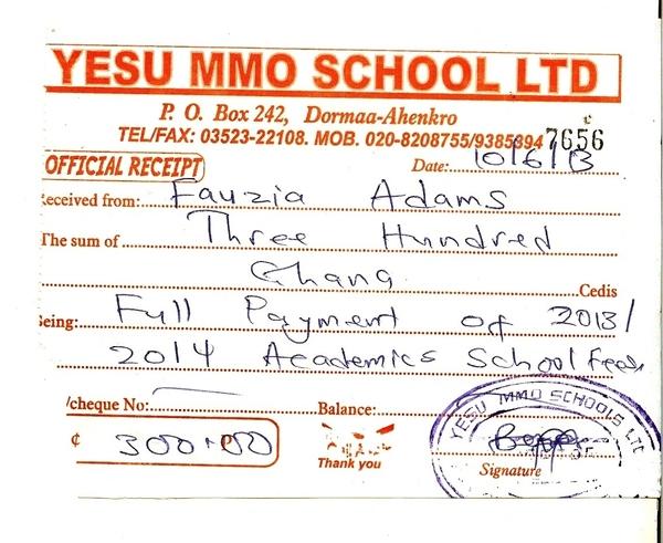 2013 2014 school receipt fauzia