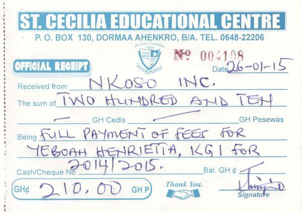 2014 2015 payment receipt