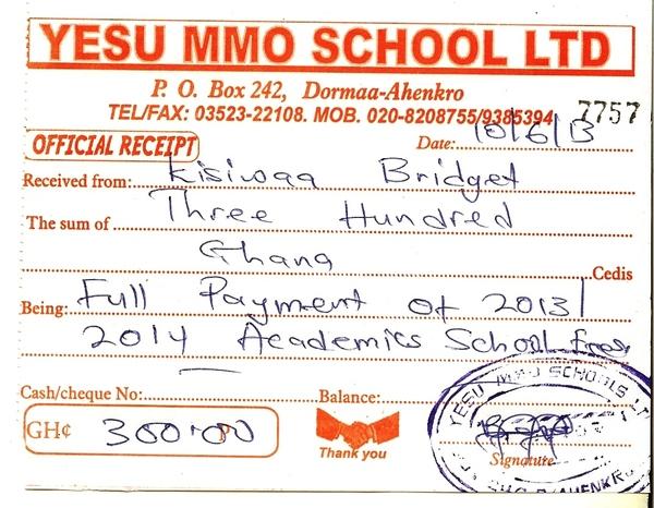 2013 2014 school receipt bridget