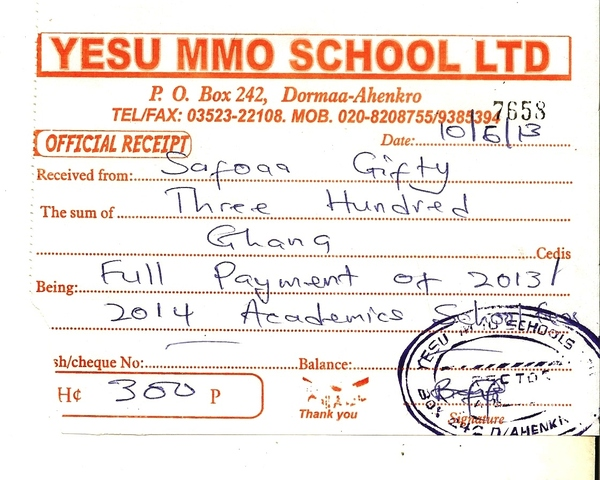 2013 2014 school receipt gifty safoaa
