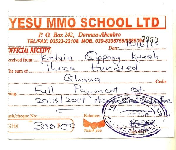 2013 2014 school receipt kelvin kyereh