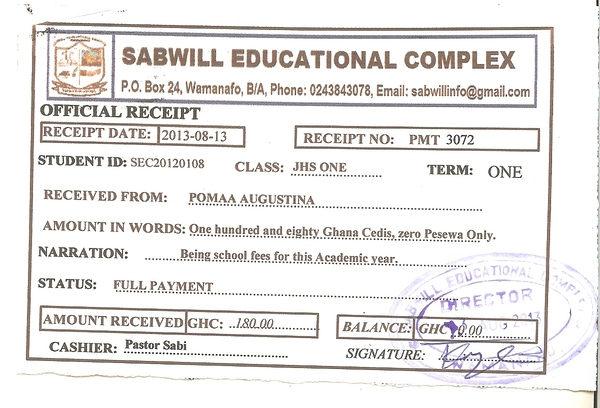 2013 2014 school receipt augustina