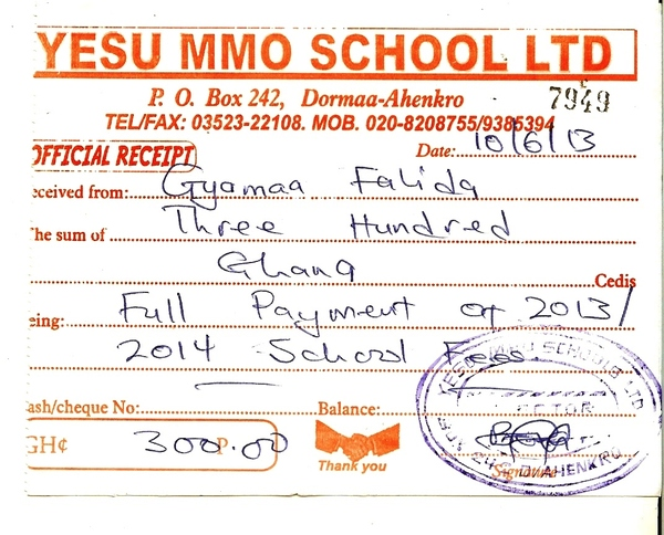 2013 2014 school receipt falida