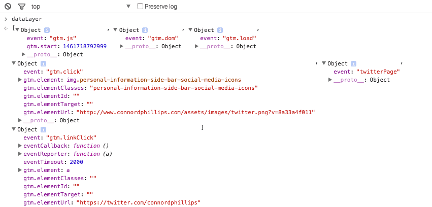 datalayer console log